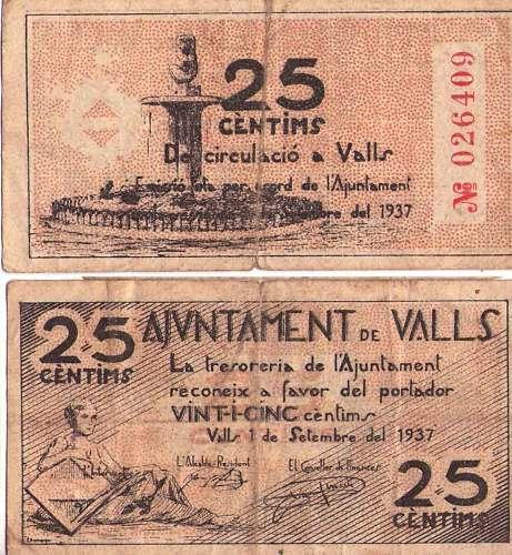 PAPER MONEDA DEL MUNICIPI DE VALLS